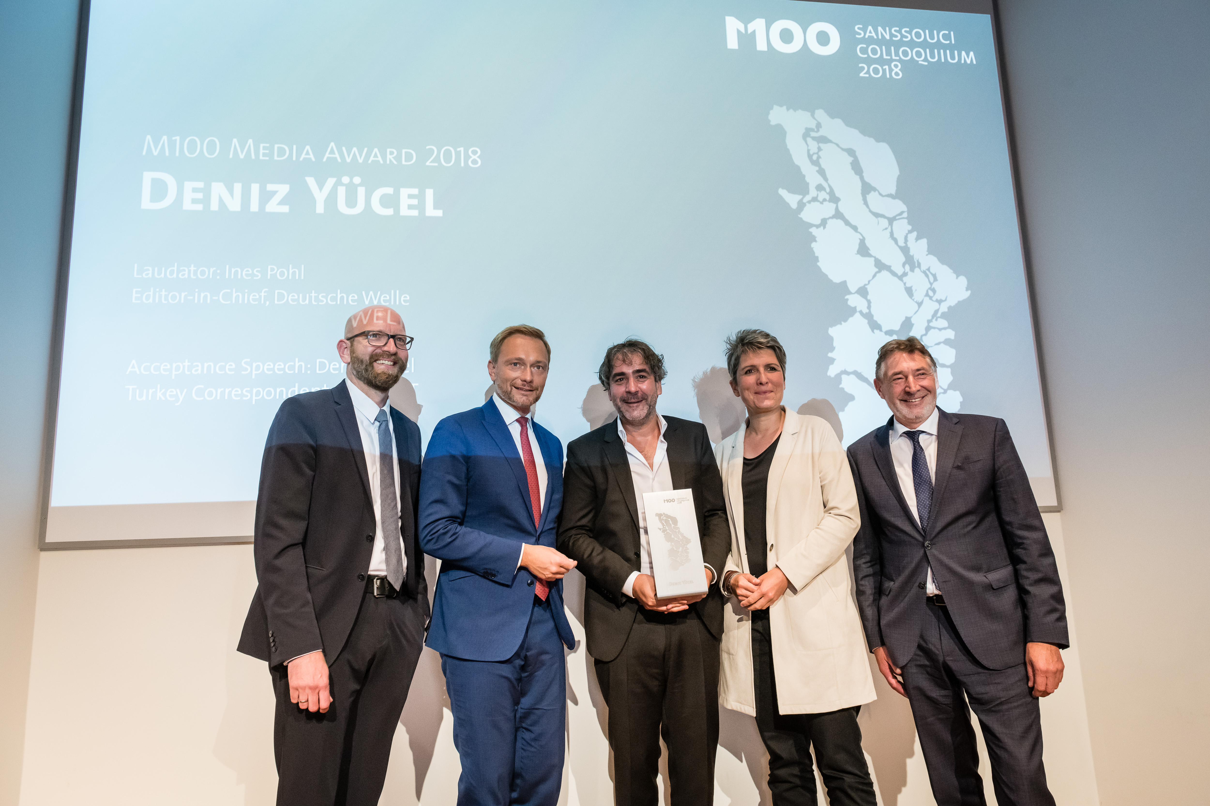 M100 Media Award 2018 with Jann Jakobs, Ines Pohl, Deniz Yücel, Christian Lindner and Moritz van Dülmen