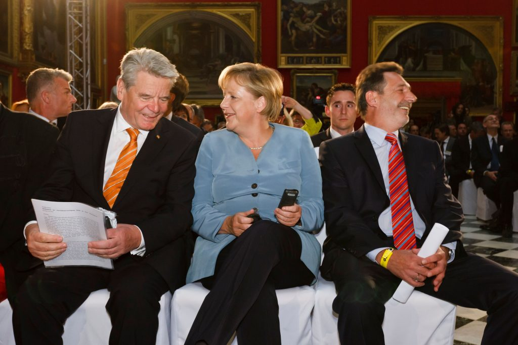 Angela Merkel and Joachim Gauck at the M100 Sanssouci Colloquium 2006