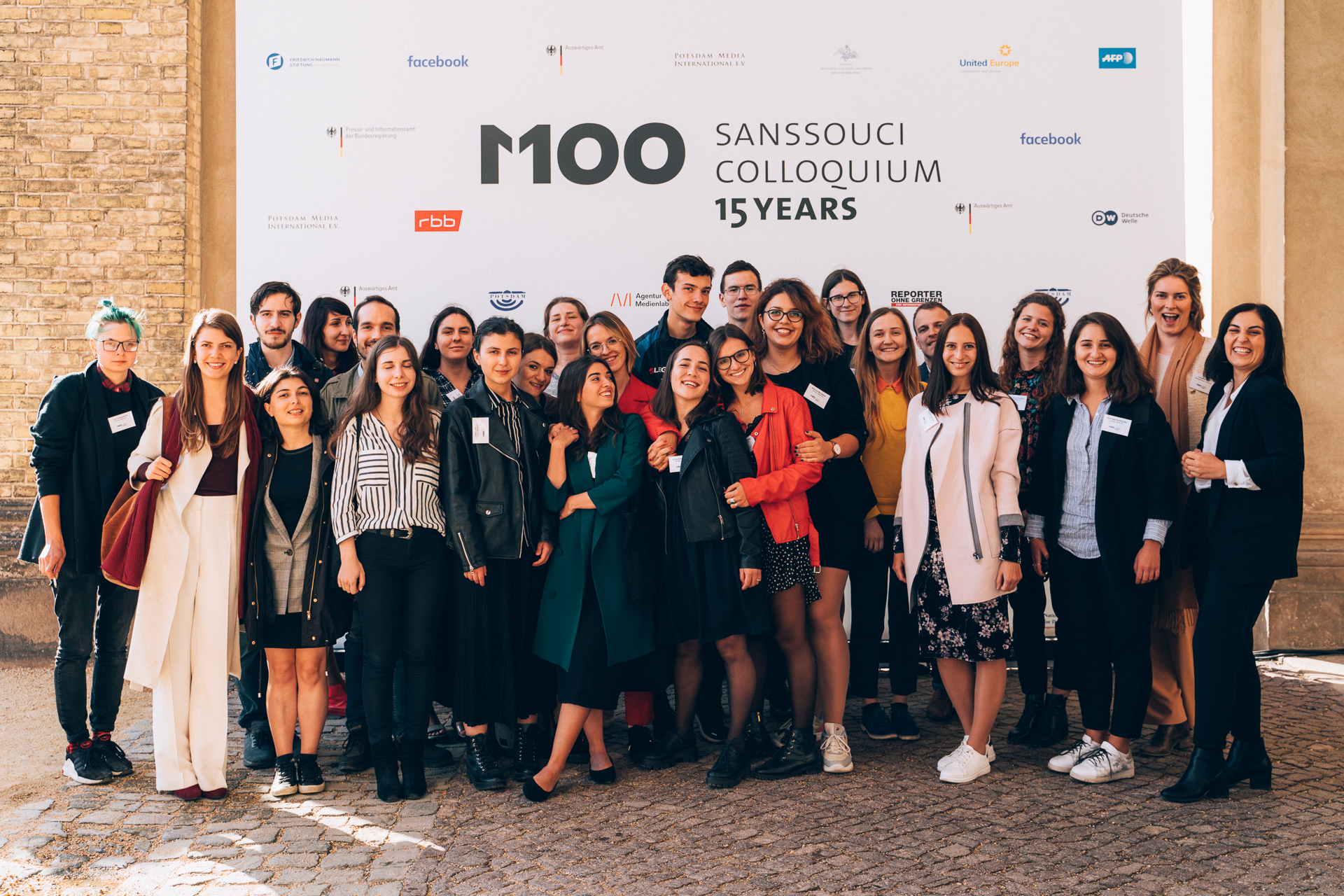 Group photo during the M100 Young European Journalists Workshop 2019 at the M100 Sanssouci Colloquium