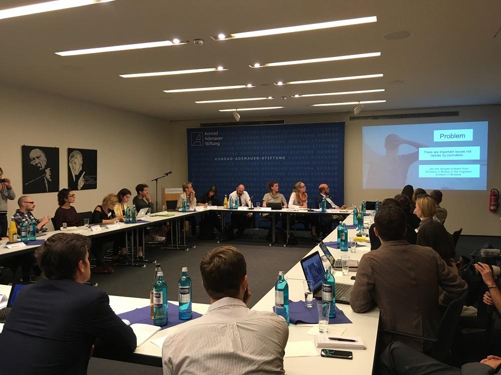 Pitchevent mit der Thomson Stiftung, Robert-Bosch-Stiftung, N-Ost, ZEIT Stiftung, Tazpanter Stiftung, Konrad-Adenauer-Stiftung