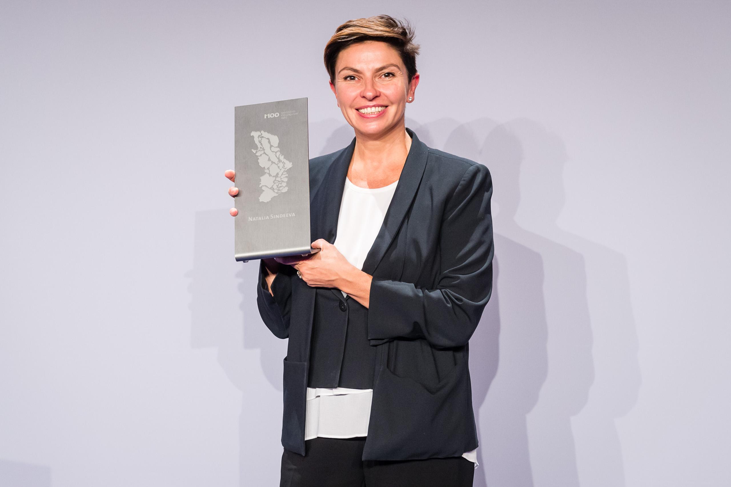 """M100 Media Award 2017 an Natalja Sindejewa, Gründerin und Geschäftsführerin von """"Doshd TV"""", Moskau"""