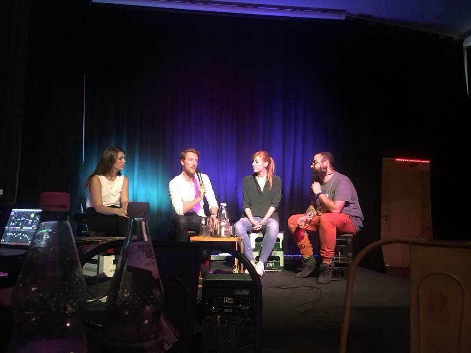 Panel mit Eva Schulz, Louis Klamroth und Firas Alshater im Rahmen des Begrüßungsabends des M100YEJs 2018